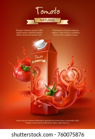 Tomato juice ad, paper box with juice, whole and sliced tomatoes in a splash, realistic vector illustration isolated on red background. Mock up for brand packaging design, corporate identity