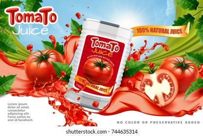 Tomato juice ads, metal can container with splashing juice and fresh sliced tomatoes in 3d illustration, blue sky background