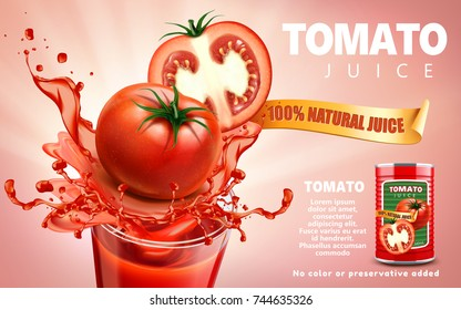 Tomato juice ads, metal can package with splashing juice and fresh sliced tomato, 3d illustration