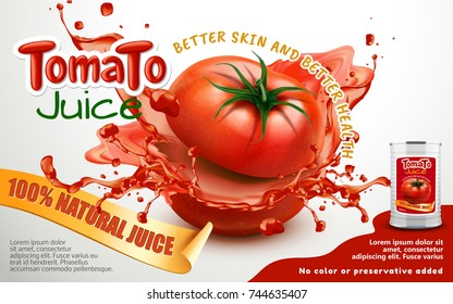 Tomato juice ads, metal can package with splashing juice and sliced tomato, isolated on white background in 3d illustration