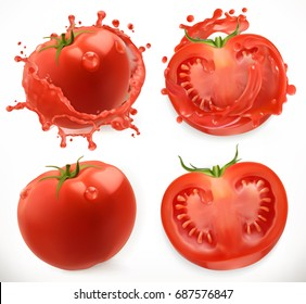 Tomato juice. Fresh vegetable. 3d realistic vector icon set