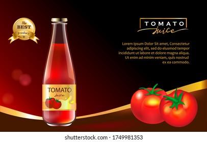 Tomato Juice Premium Design Black Gold Elegant and Lux Concept 3d Vector Realistic Ad