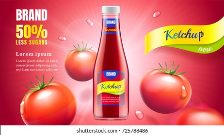 Tomato ketchup ads with bottle with flying fresh tomatoes and water drops on a red background with rays of light, 3d illustration.