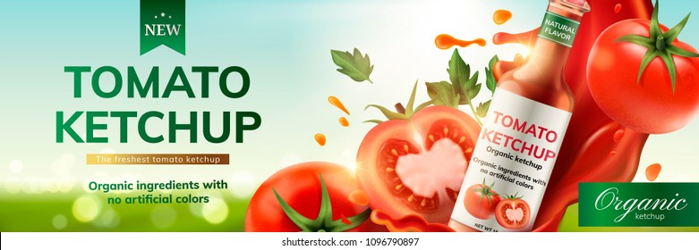 Tomato ketchup ads with splashing sauce and fruit on bokeh background