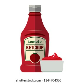 Tomato ketchup bottle and ketchup in a bowl icon. Flat vector illustration isolated on white background.
