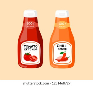 Tomato ketchup and chilli sauce isolated on cream background. Tomato ketchup and chilli sauc suitable for eating with a variety of food.