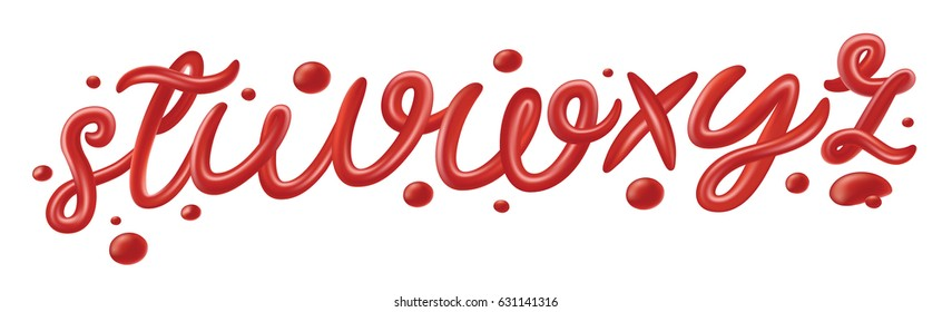 Tomato ketchup font isolated on white background. Red letters. English alphabet set made of sauce, liquid and glossy. 3D realistic design elements for poster, packaging, menu. Vector illustration.