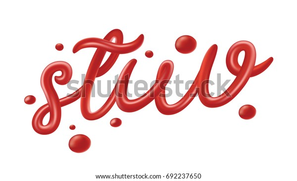 Tomato Ketchup Font Set Isolated On Stock Vector (Royalty