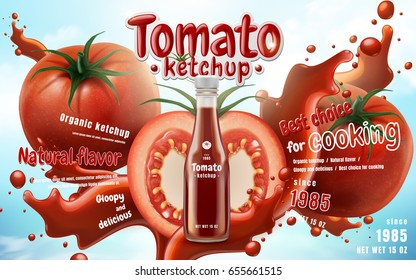 Tomato ketchup with fresh fruit and splashing liquid in 3d illustration