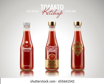 tomato ketchup sauce package design, 3d illustration