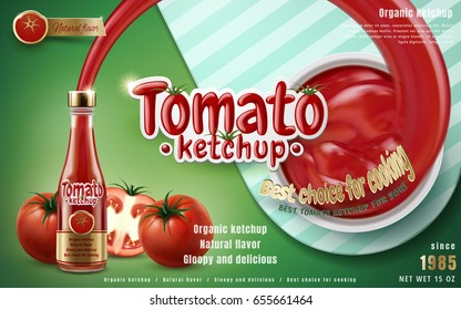 Tomato ketchup shooting out from glass bottle, green background 3d illustration