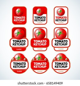Tomato ketchup vector label templates. Isolated vector illustrations.
