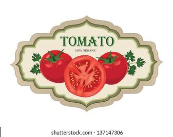 Tomato label.  Vegetable retro sticker.