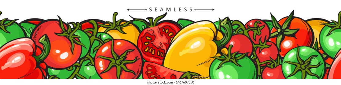 Tomato and peppers seamless repeatable pattern vector illustration isolated on white background. Surface border design of fabric print or wallpaper for kitchen and food.