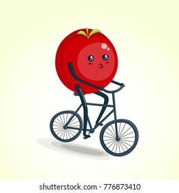 Tomato riding bike cartoon character. Healthy and fitness. Flat illustration eps 10 vector
