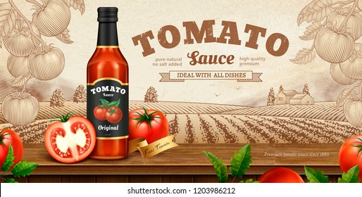 Tomato sauce banner ads with engraved nature background in 3d illustration