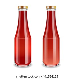 Tomato sause, Ketchup or Tomato Juice on Glass Bottles. Realistic beautiful jars. Vector illustration.