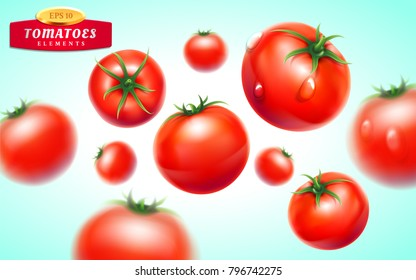 Tomato set. Detailed realistic red ripe fresh tomatoes with green leaves with water droplets isolated on blue background. Vector 3d illustration. Fruit and vegetable theme. Vegetarian food.