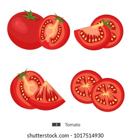 Tomato. Set of fresh tomatoes, whole and sliced. Isolated on a white background. Cartoon. Vector. Flat style.