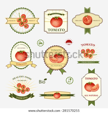 Tomato Set Label Design Templates Vector Stock Vector (Royalty Free ...