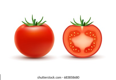 Tomato slice isolated on white. Tomato organic food photo-realistic vector illustration of healthy vegetable.