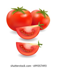 Tomato and slice realistic isolated vector illustration