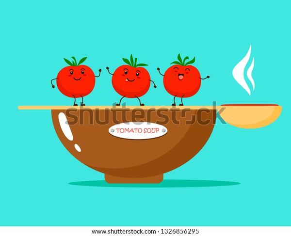 Image Vectorielle De Stock De Tomato Soup Funny Tomatoes Kawaii Style 1326856295