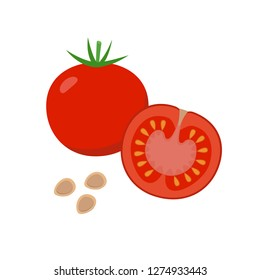Tomato vector flat illustration. Whole and halved tomato and seeds isolated on white background. Packaging design element