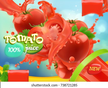 Tomato vegetables. Splash of juice. 3d realistic vector, package design