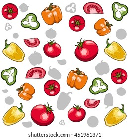 tomatoes and Bell pepper - vector pattern