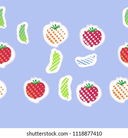 Tomatoes, cucumbers halftone  seamless pattern, dashed lines, tags. Hand drawn.