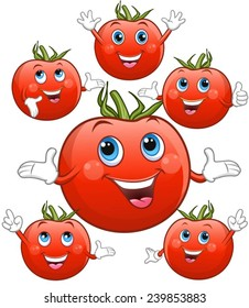 Tomatoes with faces, cheerful.
