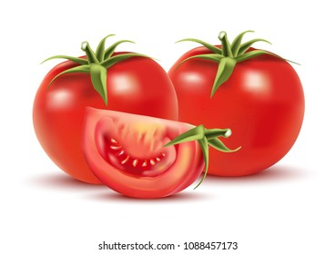 tomatoes group isolated on white color background. vector realistic illustration, vegetable. view from top.