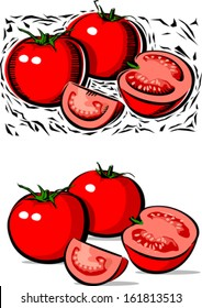 Tomatoes illustration in wood cut style