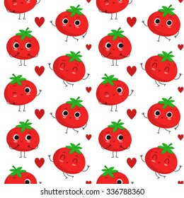 Tomatoes, vector seamless pattern with cute vegetable characters and hearts isolated on white