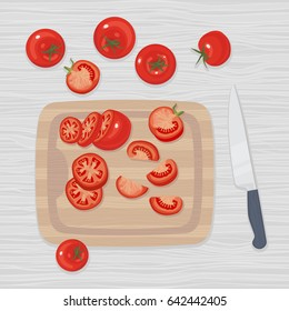Tomatoes whole and cut in slices on a cutting board, knife next to it. Vector clip-art.