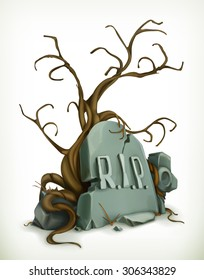Tomb, rest in peace vector icon