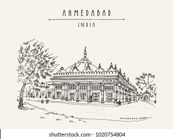Tomb of Sheikh Ganj Baksh in Sarkhej Roza near Ahmedabad (Ahmadabad), Gujarat, India. Ornate stonework. Travel sketch art. Vintage hand drawn postcard in vector