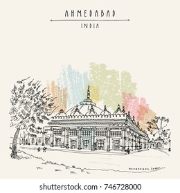 Tomb of Sheikh Ganj Baksh in Sarkhej Roza near Ahmedabad (Ahmadabad), Gujarat, India. Ornate stonework. Travel sketch art. Vintage hand drawn postcard. Vector illustration