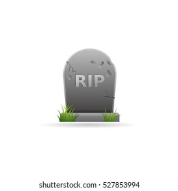 Tomb stone icon in color. Monument dead Halloween spooky