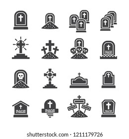 Tomb,Graves icon set/Flat icon set design ,Out line vector icon set for design.