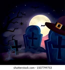 tombs in the dark night halloween scene