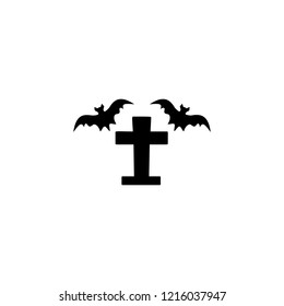 Tombstone and bats icon. Simple glyph vector of halloween set for UI and UX, website or mobile application