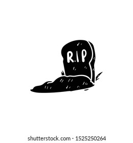 tombstone doodle icon vector hand drawing flat black