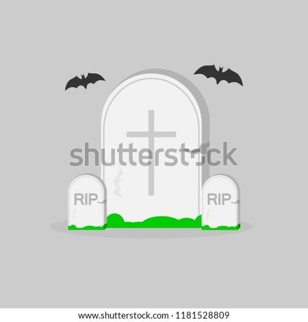 Tombstone Icon Halloween Symbol Flat Design Template Vector Illustration