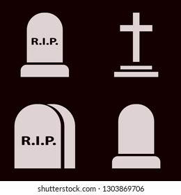 tombstone icon set with grave and graves vector illustration
