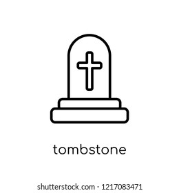 Tombstone icon. Trendy modern flat linear vector Tombstone icon on white background from thin line Religion collection, editable outline stroke vector illustration