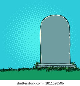 Tombstone monument in the cemetery. Pop art retro vector illustration kitsch vintage 50s 60s style