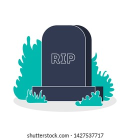 Tombstone on the grave. Monumet made of stone with RIP text. Rest in peace gravestone, spooky drawing. Isolated flat vector illustration