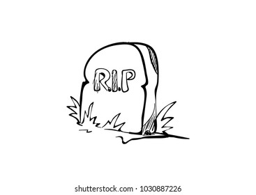tombstone rip doodle icon vector